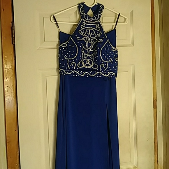 Royal Blue Chiffon Dress at Dillard's